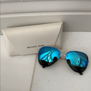 Michael Kors blue mirrored aviator sunglasses